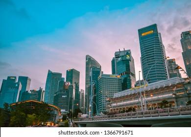 Singapore - January 25, 2019:Cityscape park area Merlion Singapore