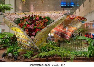 SINGAPORE, SINGAPORE - JANUARY 25: Enchanted garden at Changi international airport on January 25, 2015 in Singapore. It serves more than 100 airlines.