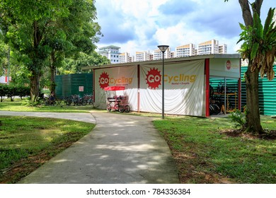 SINGAPORE - JANUARY 26, 2017_GoCycling Punggol bike rental kiosk at Punggol Park, Singapore. It mainly rents out regular adult and children-sized bikes.