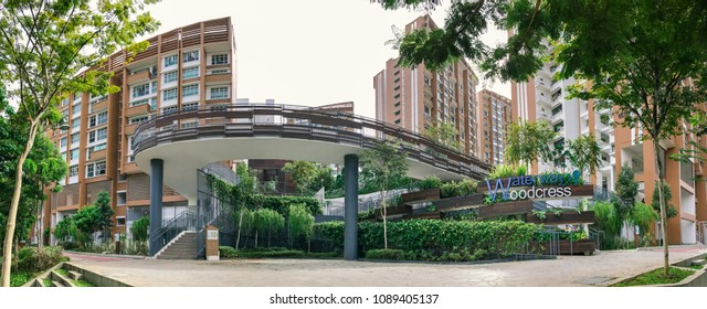 SINGAPORE - JANUARY 26, 2017_Panoramic view of Singapore Public Housing Apartments in Punggol District, Singapore. Housing Development Board(HDB) with decorative skywalk or bikelane