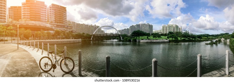 SINGAPORE - JANUARY 26, 2017_Panoramic view of Waterway Point and Public Housing Apartments. Waterway Point is a suburban shopping mall located in the town centre of Punggol New Town with sunlight