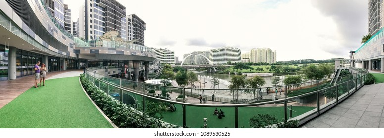 SINGAPORE - JANUARY 26, 2017_Panoramic view of Waterway Point and Public Housing Apartments. Waterway Point is a suburban shopping mall located in the town centre of Punggol New Town