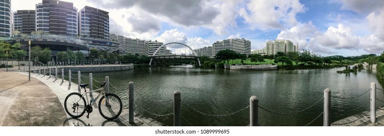 SINGAPORE - JANUARY 26, 2017_Panoramic view of Waterway Point and Singapore Public Housing Apartments. Waterway Point is a suburban shopping mall located in the town centre of Punggol New Town