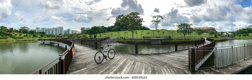 SINGAPORE - JANUARY 26, 2017_Panoramic view of Singapore Public Housing Apartments in Punggol District, Singapore. Housing Development Board(HDB)