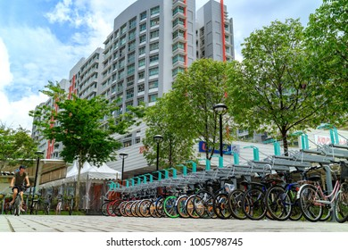 SINGAPORE - JANUARY 26, 2017_Punggol bike parking lot at Punggol district in Singapore