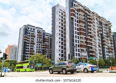 SINGAPORE - JANUARY 26, 2017_Singapore Public Housing Apartments in Punggol District, Singapore. Housing Development Board(HDB), low-rise condominium