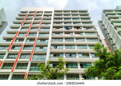 SINGAPORE - JANUARY 26, 2017_Singapore Public Housing Apartments in Punggol District, Singapore. Housing Development Board(HDB), low-rise condominium in Singapore