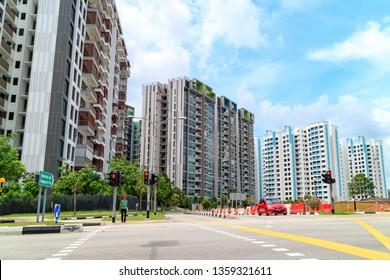 SINGAPORE - JANUARY 26, 2017_Singapore Public Housing Apartments in Punggol District, Singapore. Housing Development Board(HDB), low-rise condominium