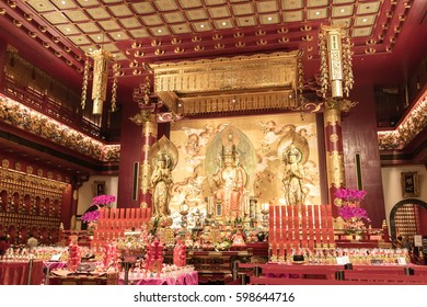 SINGAPORE - JANUARY 26, 2017_The Buddha Tooth Relic Temple and Museum, Singapore. It is designed interiors and exhibits on Buddhist art and history tell stories of culture over hundreds of years old.