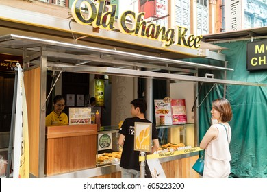 SINGAPORE - JANUARY 27, 2017_Old Chang Kee kiosk in Chinatown. Old Chang Kee is an established snack, food and beverage chain in Singapore specialising in curry puffs and other local snacks