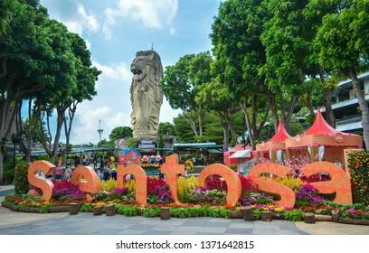 Singapore - January 27, 2019: Large merlion statues on Singapore's Sentosa Island