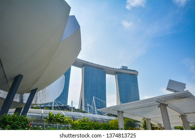 Singapore - January 27, 2019:  Singapore's magnificent building and the best museum in the Merlion Park area