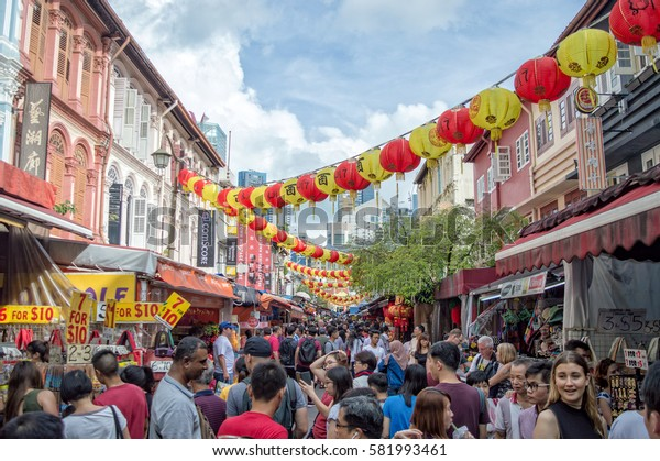 SINGAPORE, JANUARY 27: Crowd in a street of Chinatown during chinese new year,on January 27, 2017 in Singapore