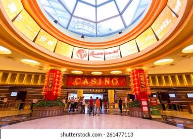 SINGAPORE - JANUARY 30, 2015 :  Interior hall at the casino at Resorts World Sentosa. Resort World Sentosa is an integrated resort on the Sentosa island featuring Universal studio and casino.