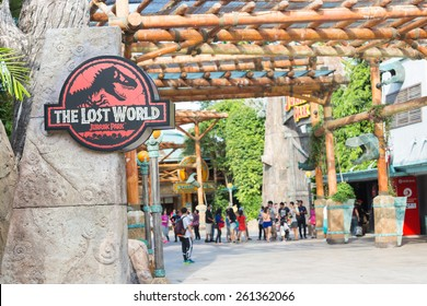SINGAPORE - JANUARY 30, 2015 : Jurassic Park theme in Universal Studios Singapore at Singapore Resorts World Sentosa