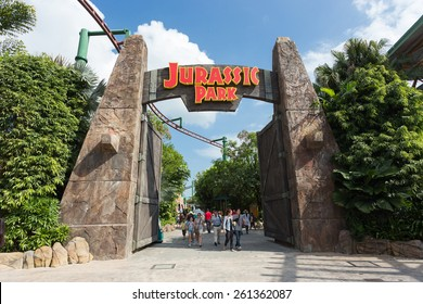 SINGAPORE - JANUARY 30, 2015 : Jurassic Park is of the famous attractions in Universal Studios Singapore.