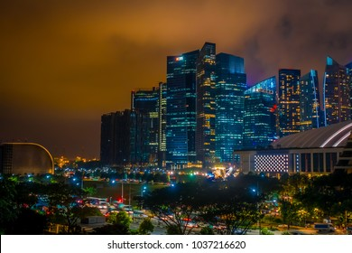 SINGAPORE, SINGAPORE - JANUARY 30, 2018: Singapore has a highly developed market-based economy and is a center for commerce in Asia and globally, HBS building at night