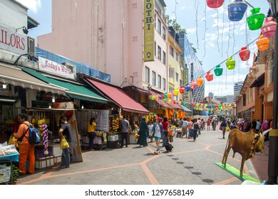 Singapore, Singapore - January 31, 2015: Street with shops in Little India, which is an ethnic district in Singapore. Little India is located east of the Singapore River.