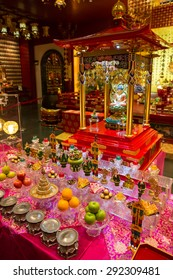 SIngapore, January 5, 2015: Interior view of the Buddha Toothe Relic Temple and Museum in Chinatown.
