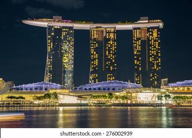 Singapore - January 6, 2015: View of Marina Bay Sands resort in Singapore.