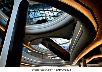 Singapore - January 6 2018: Futuristic atrium of a hi-tech office building in downtown Singapore