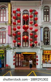Singapore. January 7, 2021: Shophouse in Chinatown with lantern decorations for Chinese New Year