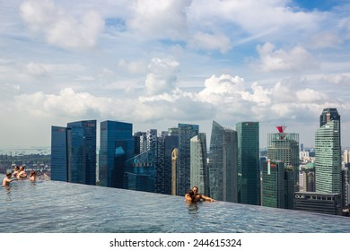 Singapore - January 7: View of the infinity swimming pool of the Marina Bay Sands resort on January 7, 2015.