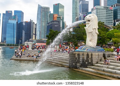 SINGAPORE, Januray 13, 2019: Merlion statue fountain in Merlion Park. Merlion statue fountain The Merlion is the symbol and most famous tourist attraction of SIngapore.