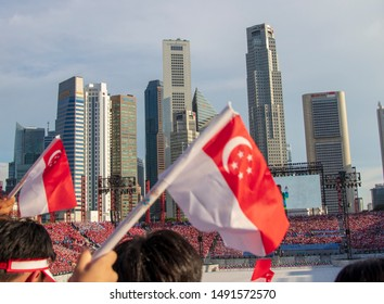 SINGAPORE - JUL 12 2019 National Day Parade 2019 to celebrate Singapore's 54th birthday and marks the Bicentennial year since Raffles came to Singapore. Photo was taken at an NE show.
