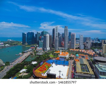 Singapore / Singapore - Jul 19,2019 : Aerial view of Singapore city and business prime area