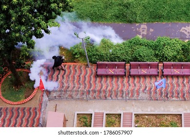 Singapore Jul 22 2020. Thermal fogging exercise (fumigation) in HDB heartlands by national environment agency as mosquito-control measure to fight against dengue outbreak.