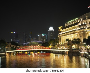 SINGAPORE - JUL 23 2017: The Fullerton Hotel Singapore. It is is a five-star luxury hotel from 2011 and was opened on 27 June 1928.