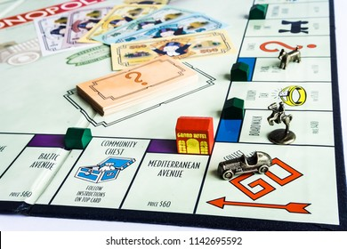 Singapore - Jul 25, 2018:  Monopoly Property Trading board game from Parker Brothers. The classic real estate trading game from Parker Brothers was first introduced to America in 1935.