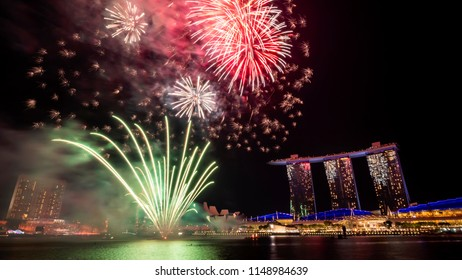 Singapore - Jul 28, 2018 : Firework of 53 SG Singapore National Day Parade rehearsal dates on Marina Bay at twilight time
