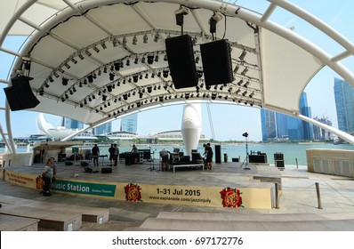 Singapore - Jul 3, 2015. Music stage at Marina Bay in Singapore. Since independence in 1965, the Singapore economy has experienced rapid economic development.