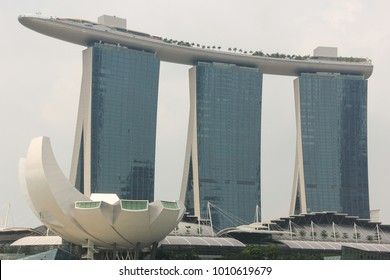 Singapore, Singapore - Jul 30, 2012: Marina Bay Sands magnificent building. Luxury hotel