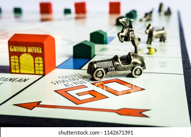 Singapore - Jul 5, 2018:  Monopoly Property Trading board game from Parker Brothers. The classic real estate trading game from Parker Brothers was first introduced to America in 1935.