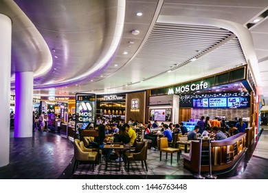 Singapore - Jul 9,  2019:  MOS Cafe, ITACHO Sushi, and A&W in Jewel. Jewel Changi Airport is a mixed-use development at Changi Airport in Singapore, opened in April 2019.