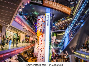 Singapore - Jul 9,2019: Funan mall is a social retail space for discovery, learning and shopping, underpinned by a digital layer of customer experience
