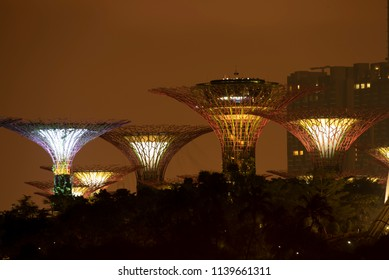 SINGAPORE, July 12, 2018: Show of Super Trees Grove at Gardens by the Bay during the night, in Singapore, on July 12, 2018
