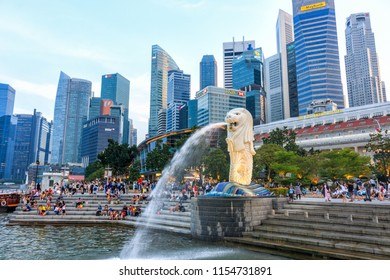 Singapore - July 13, 2018 - The Merlion In Singapore