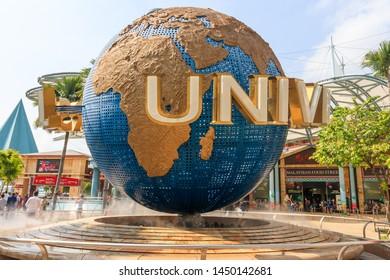 Singapore - July 13, 2018: The Universal Studios Singapore Globe