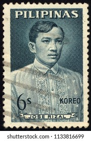 SINGAPORE - JULY 14, 2018: A stamp printed in the Philippines shows iamge of Dr Jose Rizal, series, circa 1954