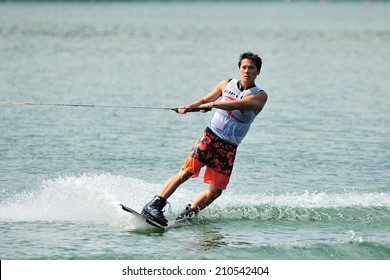 SINGAPORE - JULY 20: Athlete performing stunt during Rip Curl Singapore National Inter Varsity & Polytechnic Wakeboard Championship 2014 on July 20, 2014 in Singapore
