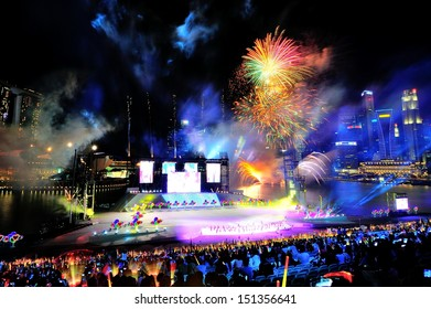 SINGAPORE - JULY 20: Fireworks display during National Day Parade (NDP) Rehearsal 2013 on July 20, 2013 in Singapore