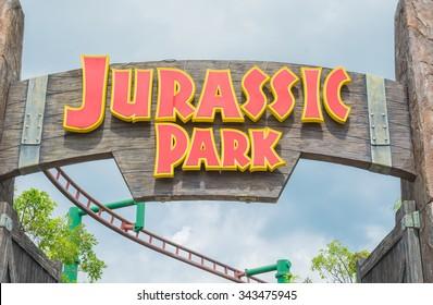 SINGAPORE - JULY 20: Jurassic Park theme in Universal Studios Singapore at Singapore Resorts World Sentosa on JULY 20, 2015.