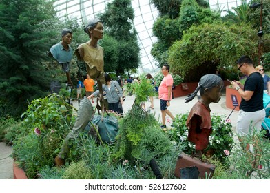 SINGAPORE - JULY 23rd, 2016: Inside of the Flower Dome of Garden by the Bay.