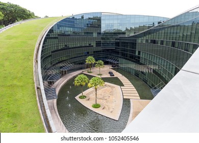 SINGAPORE - JULY 26, 2016_School of Art, Design & Media at Nanyang Technological University campus, Singapore. The place is a stunning piece of award-winning architecture situated in a wooded valley