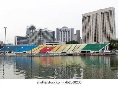 SINGAPORE - JULY 26, 2016_The Float at Marina Bay in Singapore. It is the world's largest floating stage with 30,000-capacity grandstand.