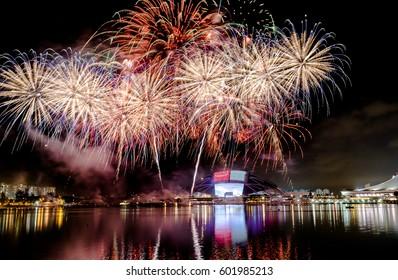 Singapore - July 30, 2016: Amazing fireworks for National Independence Day of Singapore, SG51, at National Stadium
